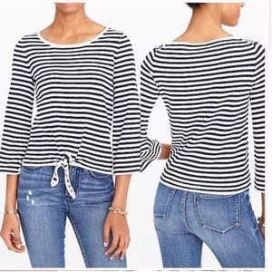 J Crew Striped Front Tie Striped LongSleeve Top XL